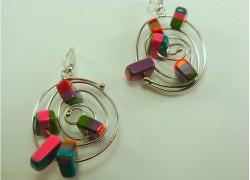 Серьги-спирали цветные в серебре