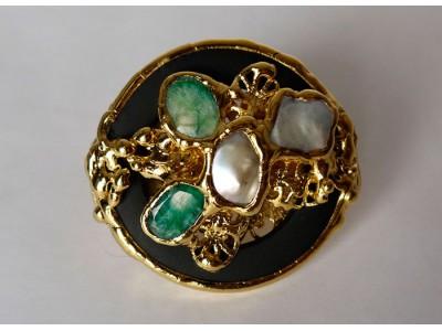 Кольцо на 2 пальца с натуральными камнями в золоте
