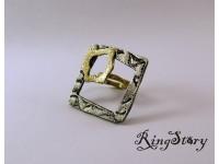 Кольцо квадратное из бронзы