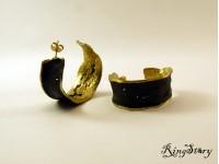 Серьги кольца из бронзы c чернением