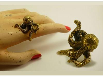 """Кольцо из бронзы """"Осьминог"""""""