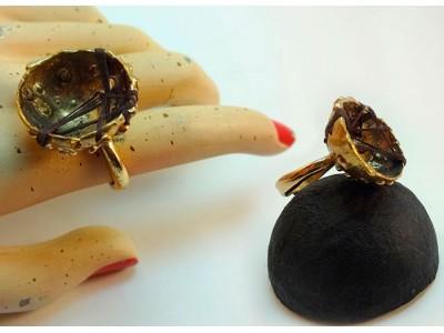Кольцо из бронзы с хлопковой проволокой