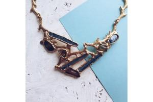"""Ожерелье """"Ветви"""" с натуральными камнями в золоте"""