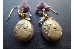 Серьги из стекла Мурано с камеей, лиловые