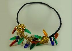 Ожерелье из стекла Мурано сине-оранжевое со стрекозой на гнущейся основе