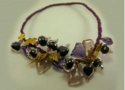 """Ожерелье из стекла Мурано на гнущейся основе - """"Виноград"""""""