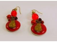 Серьги из стекла Мурано с котами красные