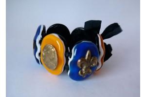 Браслет из стекла Мурано овальный желто-синий L