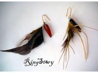 Серьги из стекла Мурано с перьями