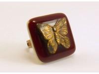 Кольцо из стекла Мурано бордовое с бабочкой