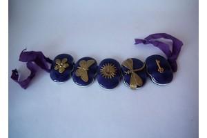 Браслет из стекла Мурано фиолетовый L