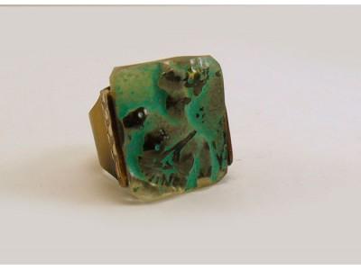 Кольцо с хрусталем бирюзовое
