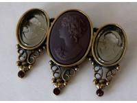 Брошь из бронзы с 3 камеями