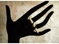 Кольцо серебряное на 2 пальца