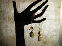 Серьги из стекла Мурано с камеей, оранжевые