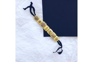 Браслет из стекла Мурано желтый квадратный