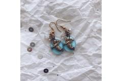 Серьги из стекла Мурано голубые с ангелочками