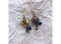 Серьги из стекла Мурано желтые квадратные