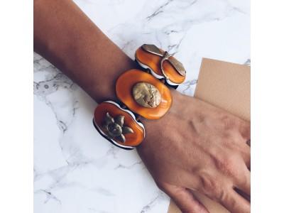 Браслет из стекла Мурано овальный оранжевый L